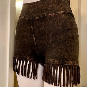 T Party High Waist Fringe Tie Dye Shorts XS